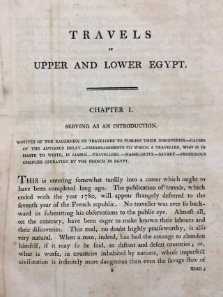 Travels in upper and lower Egypt: undertaken by order of the old government of France; by C. S. Sonnini, engineer in the French navy, and member of several scientific and literary societies. Followed by: Report of the Commission of Arts to the First Consul Bonaparte on the Antiquities of Upper Egypt and the present state of all the temples, palaces, obelisks, statues, tombs, pyramids, &c. of Philoe, Syene, Thebes, Tentyris, Latopolis, Memphis, Heliopolis, &c.. &c.[newline]M7229-17.jpg