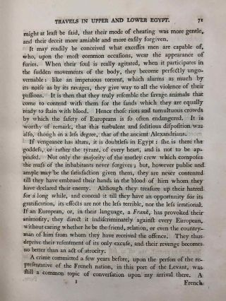 Travels in upper and lower Egypt: undertaken by order of the old government of France; by C. S. Sonnini, engineer in the French navy, and member of several scientific and literary societies. Followed by: Report of the Commission of Arts to the First Consul Bonaparte on the Antiquities of Upper Egypt and the present state of all the temples, palaces, obelisks, statues, tombs, pyramids, &c. of Philoe, Syene, Thebes, Tentyris, Latopolis, Memphis, Heliopolis, &c.. &c.[newline]M7229-18.jpg
