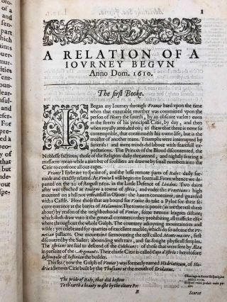 A Relation of a Journey Begun An. Dom. 1610. Foure Bookes. Containing a Description of the Turkish Empire, of Aegypt, of the Holy Land, of the Remote parts of Italy, and ilands adjoyning.[newline]M7232-06.jpg