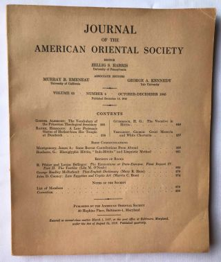 Journal of the American Oriental Society. 4 Issues: Vol. 65 (#4. Oct-Dec 1945), Vol. 66 (#1....[newline]M7278.jpg