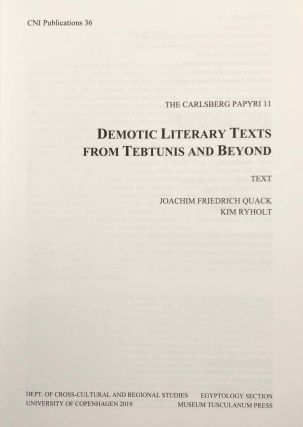 Demotic Literary Texts from Tebtunis and Beyond. 2 volumes (complete set)[newline]M7337-03.jpg