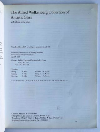 Christie's Auction Catalogue: The Alfred Wolkenberg Collection of Ancient Glass. Tuesday,9 July, 1991.[newline]M8286-01.jpeg